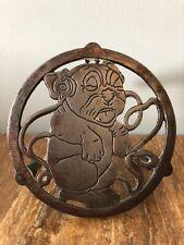 Antique Vintage Cast Iron Trivet Pug Dog Kettle/pot Stand