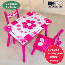 3Pcs Wood Play Activity Table and Chair Set Children's kids Indoor Desk outdoor