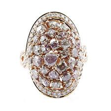 Auténtico 5.35ct Natural Fantasía Morado Diamantes Anillo de Compromiso 18Ct