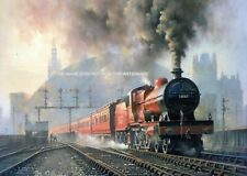 More details for splendid mounted railway print 1920's derby built compound 4-4-0 at st pancras