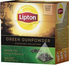 Lipton Luxury 4 Boxes Green Gunpowder Green Tea 20 pyramid Teabags Per Box