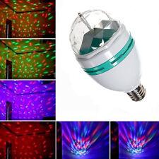 LAMPADA LED RGB ROTANTE EFFETTO LUCI MULTICOLOR ATTACCO E27 FESTE DISCOTECA 3W