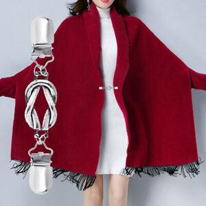 Gewebte Seilschlaufe Pullover Schal Clip Zurück Brosche Cardigan Keeper QL