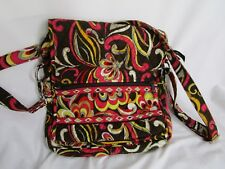 Vera Bradley Mailbag Style Purse Bag Puccini Pattern Brown Red Green Yellow