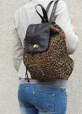 élégant sac à dos cuir en léopard look cuir véritable Extravagant & fonctionnel