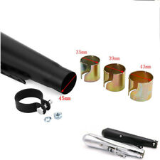 "17.5"" Motorcycle Cafe Racer Exhaust Pipe Exhaust Pipe W/Sliding Bracket Black"