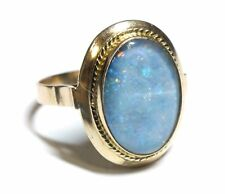 .585 14ct YELLOW GOLD Oval Blue Purple OPAL Solitaire Ring, Size N, 3.19g - M25