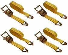 """4 Pc 1-1/2"""" inch x 27' Ft Ratchet Tie Down Cargo Straps 4000 Lbs J Hooks 4 pack"""