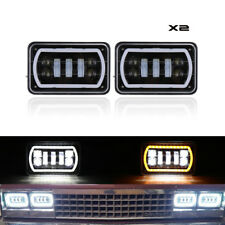 4x6 Inch Led Headlight H4 Sealed Beam DRL Turn Signal Halo Ring For Kenworth 357