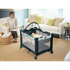 Baby Graco Packn Play On the Go Playard with Bassinet Stratus Playpen Crib Black
