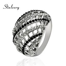 Black White Cubic Zirconia Fashion Jewelry Big Reticular Hollow Cross Wide Rings