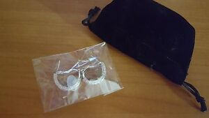 Diamond Accent Half Moon Hoop with Omega French Clip plated in 18k gold * NIB *