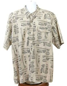 Redhead Men's 2XL Brown 100% Cotton Short Sleeve Fishing Theme Shirt