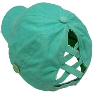 C.C Ponytail Criss Cross Messy Buns Ponycaps Baseball Cap Hat Button Hook Mint