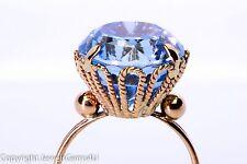 Antique 18K Rose Gold 15.0ct Blue Topaz Cable Basket Cocktail Ring