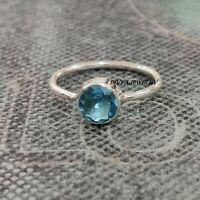 Blue Topaz Stone Solid 925 Sterling Silver Band Ring Meditation Ring Size V917