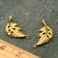 4pcs Raw Brass Feather Earring Charm Leaf Connector jewelry Making Finding be07