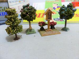 VAU-PE e Faller - 3 alberi e stazione VOTIVA con NS.SIGNORE e fiori -Anni 50-HO-