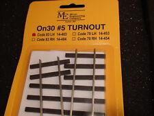 Micro- Engineering #14-403 On30 #5 CODE 83 LH TURNOUT BIGDISCOUNTTRAINS