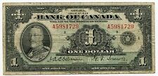 1935 Bank of Canada - One Dollar $1 Currency Note - Ottawa - AJ733