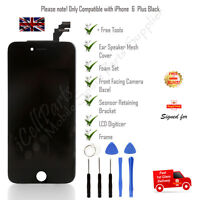 Black Apple iPhone 6 Plus Screen Glass Replacement LCD Digitizer OEM w/ Frame