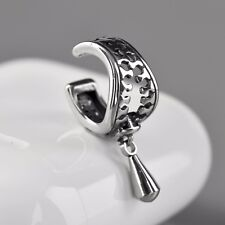 silver zipper ear cuff clip on stainless steel single earring unisex