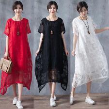 ZANZEA 10-24 Women Summer Plus Size Evening Party Floral Lace Maxi Long Dress