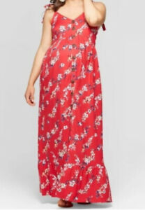 Ingrid & Isabel Maternity Floral Print Sleeveless Button Front Maxi Dress Size L