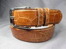 "Genuine Cognac Alligator-Crocodile skin Waist 29-30 Belt Size 31-32 x 1.25"" wide"