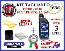 KIT TAGLIANDO FILTRI + OLIO ERG 10W40 FIAT PUNTO 1.2 16V 59 kw