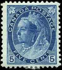 Canada #79 mint VF OG HR 1899 Queen Victoria 5c blue Numeral CV$350.00