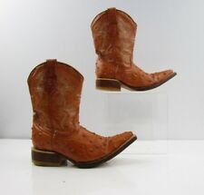 Boys Vargas Brown Leather Ostrich Print Pointed Toe Cowboy Boots Size: 11