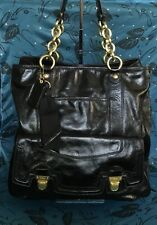 COACH Limited Ed. Coach Poppy #17924 Black Leather Push-Lock Tote Shoulder Bag