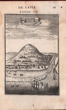 1683 Gammalamme L'Asie Mallet Copperplate Engraving Asia Gamalama Volcano