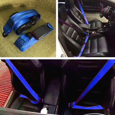 3 Point Car Front Seat Belt Buckle Kit Automatic Retractable Safety Straps Blue