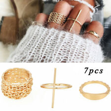 7 Pcs Gold Women Stackable Ring Knuckle Finger Ring Band Midi Rings Jewelry Set