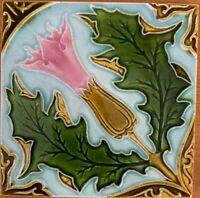 Antique art nouveau rare majolica tile vintage c1900 6 x 6 Inch Belgium