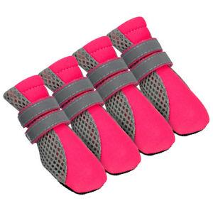 4pcs Reflective No Slip Dog Shoes Boots Booties Winter Warm Soft Socks S M L XL