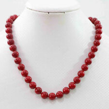 """Natural beauty red coral stone round beads 8mm jewelry necklace 18"""""""