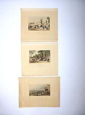 3 x kolorierte Stiche Paris Concord Chantilly 19Jh. Eugene Lami J. C. Varrall
