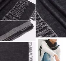 100% Pure Wool Pashmina Shawl Men Light Soft Long Scarf Reversible Grey Black