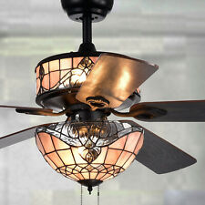 Baroque Stained Glass Tiffany Style 6-Light 5-Blade 52-In Black Ceiling Fan