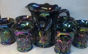 Mosser Art Glass Amethyst Carnival Seven Piece Inverted Thistle Water Set