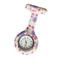 Latest Fashion Floral Nurse Clip-on Fob Brooch Pendant Hanging Pocket Watch