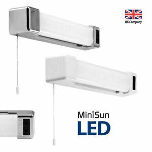 LED 6W Bathroom Shaver Socket Mirror Wall Light Pull Cord Chrome / White Finish