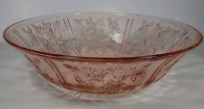 """ANTIQUE VINTAGE 1935 SHARON PINK DEPRESSION FEDERAL GLASS 10 1/4"""" SALAD BOWL"""