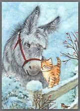 Aceo watercolor painting - cat kitten donkey winter
