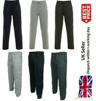 New Open Hem Jogging Bottoms Joggers Fleece Trousers Mens Black Grey Charcoal