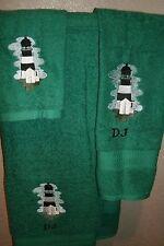 Lighthouse Cape Fear Personalized 3 Piece Bath Towel Set Color Choice