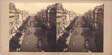 Paris Boulevard Instantané Stereo Vintage albumine ca 1860